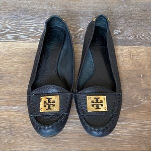 TORY BURCH Astor Pebbled Leather Moccasins